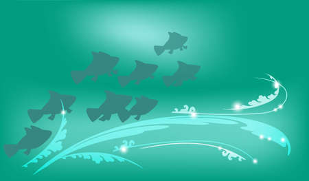 Underwater background with fish and light patterns, vector illustration for design works and banners