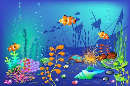 Underwater background, includes fishes,  clams,  sea plants for design and banners, vector illustration. Archivio Fotografico - 95753610