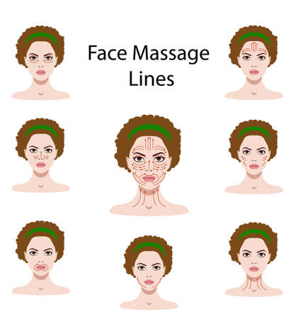 Vector illustration set of face massage instructions isolated on the white