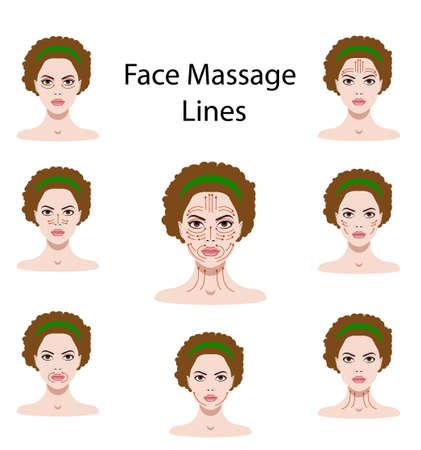 Wektor ilustracja zestaw instrukcji masażu twarzy na białym tle Ilustracje wektorowe