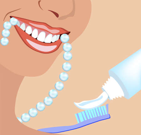 Vector face of girl and smile while munching pearls with ideal teeth for dental and stomatological illustrations