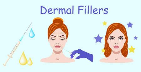 Vector illustration with dermal filler process on the blue background