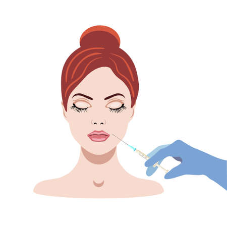 Vector illistraion with girl face and injector, dermal filler Vettoriali