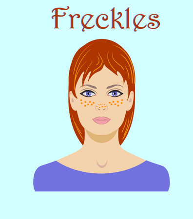 Cute freckled redhaired young woman portrait for avatar isolated on a blue background word Freckles