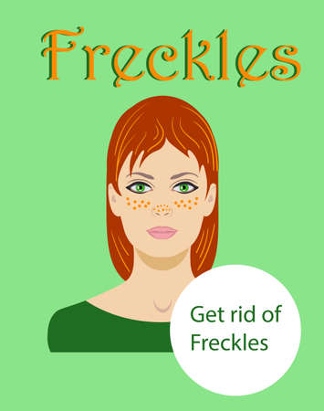 freckled redhaired young woman isolated on a green background word Freckles, vector illustration