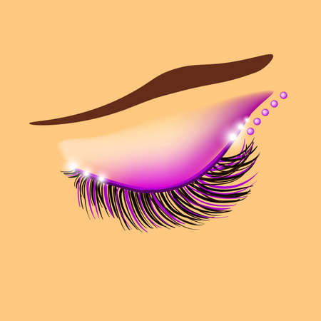 Creative purple eyelid and eyelashes design, vector illustration Ilustração