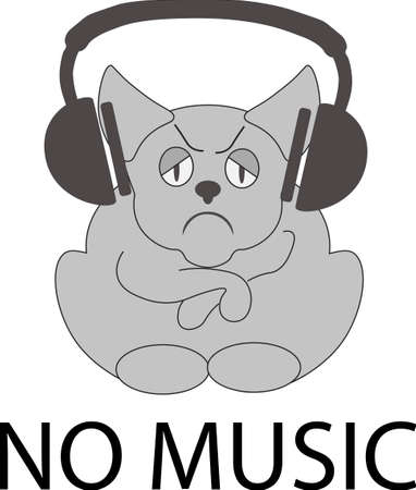 no music icon illustration isolated vector sign symbol with a sad animal Illustration