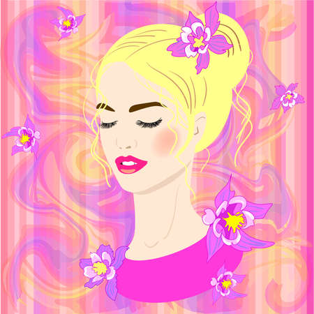 Vector portreit of a young girl on the abstract caramel background