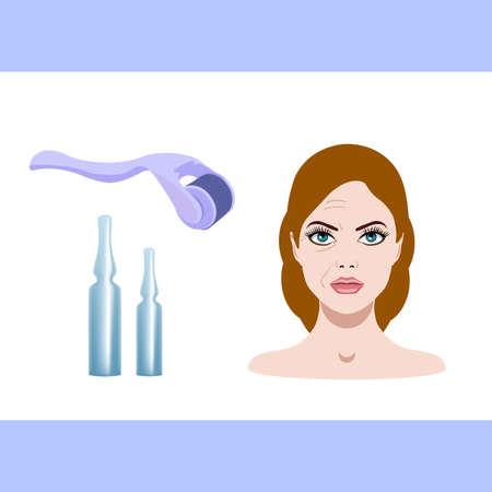 Vector illustration, derma mesorolling and before after effect Illustration