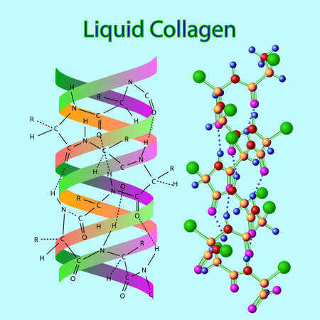Vector illustration with liqid collagen formula isolated on the light blue
