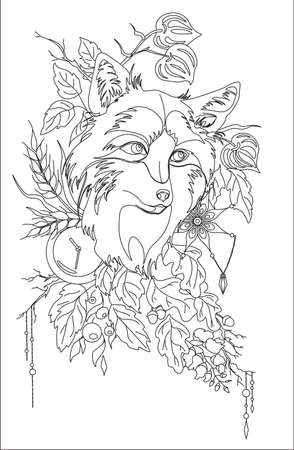 Abstract stylized tatoo fox with autumn decorations and leaves vector illustartion isolated