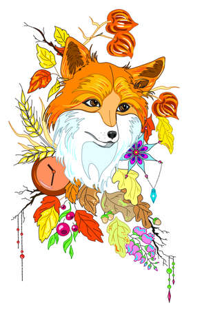 Abstract stylized cute fox with autumn decorations and leaves vector illustartion isolated, for children books and sites Ilustração
