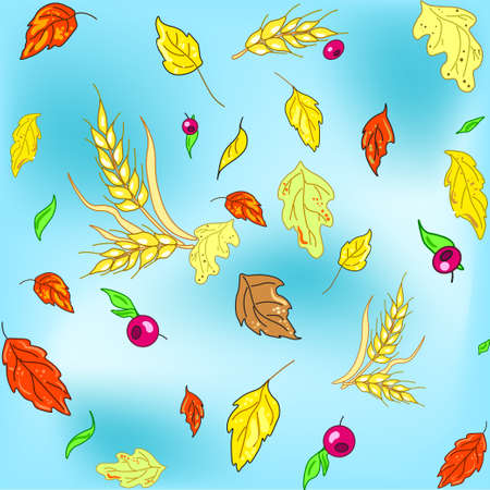 Vector seamless autumn texture with leaves and wheat spikes on blue background for textile and wallpapers