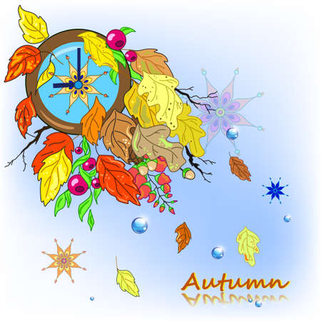 Vector illustration of autumn composition with clock abd faling leaves