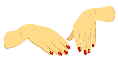 vector woman hands with red fingernails isolated
