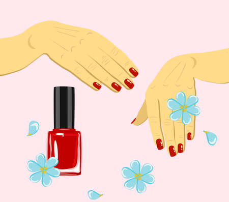 vector woman hands with red fingernails and nail polish with flowers isolated Ilustração