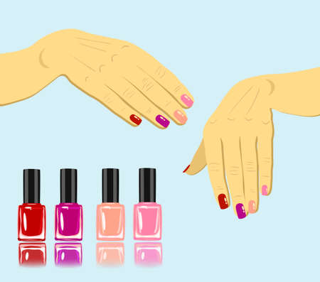 vector woman hands with fingernails and set of nail polish isolated Ilustração