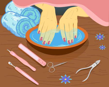 Manucure, soins des mains. Mains manucurées de femme avec bol, outils, illustration vectorielle dans un style plat Vecteurs
