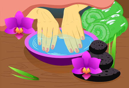 Manicure, hand care. Woman s manicured hands with bowl, towls, vector spa illustration Ilustração