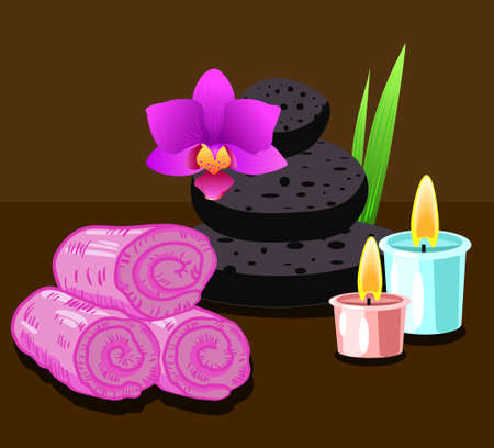 Spa with towels, stones and candle, vector illustration