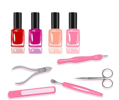 Vector set of nailpolishes and manicure tools, illustration for salons Ilustração
