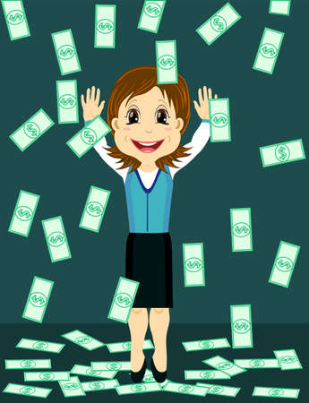 Money rain falling on a happy businesswoman, vector illustration