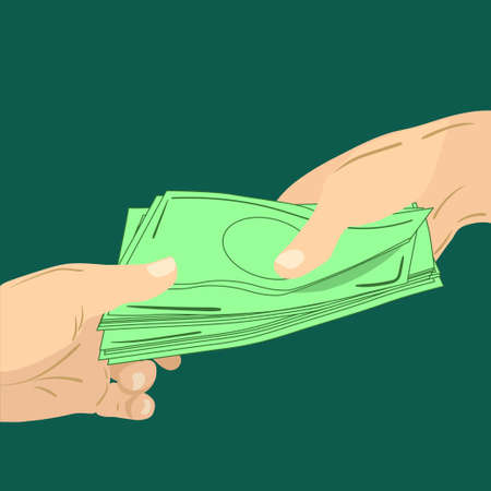 Two hands, giving or getting money, vector isolated isolated Vectores