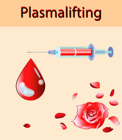 Cosmetology and beauty vector illustration. Beautiful rose and blood drop, plasma lifting injection and injector Vectores
