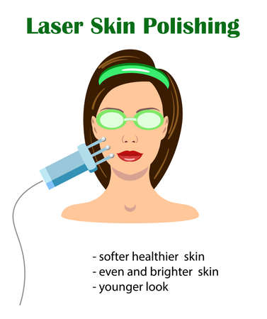 A vector set isolated of lasers and a girl face for different aims, illustration for medical sites