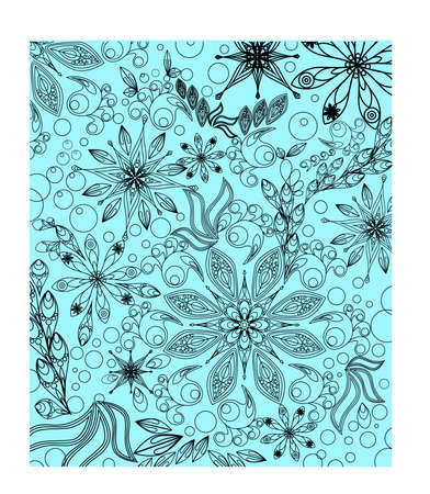 simple doodling seamless pattern, on blue background, vector design Ilustração