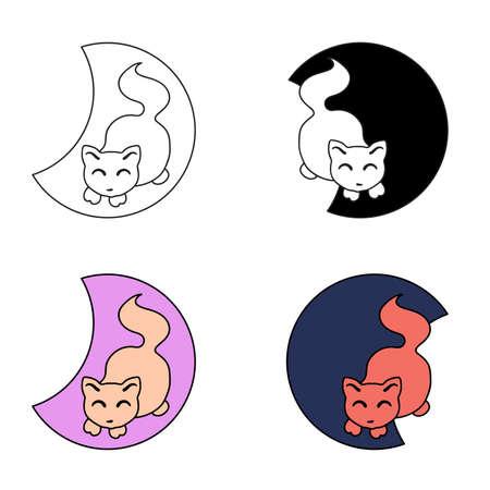 Vector set of cute pet logos, cartoon style