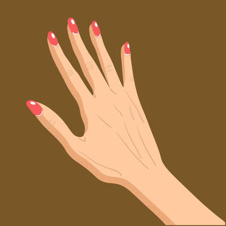 Beautiful female hand specifies by gesture isolated on brown background