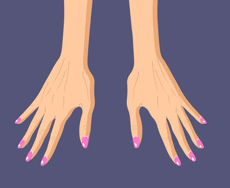 Two female hands with manicure isolated on dark background