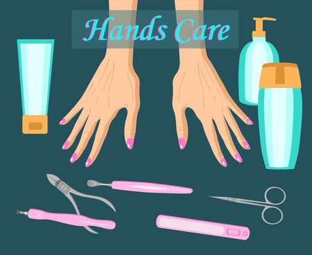 Manicure, hand care illustration for cosmetology and banners isolated on dark background Imagens - 125654074