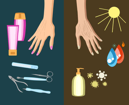 The process of hand skin aging, reason. Vector illustration isolated