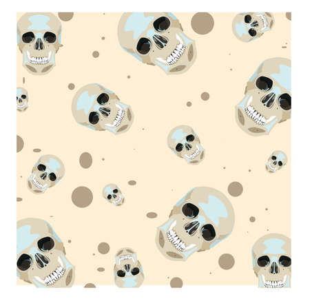 Vector seamless texture with cute skulls in light colors
