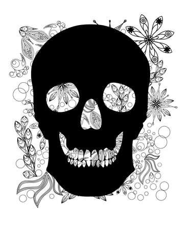Human skull on floral doodling background. Vector illustration