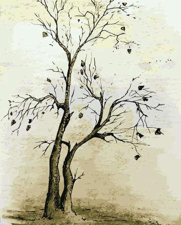 Hand draw illustration with a tree in autumn Ilustração