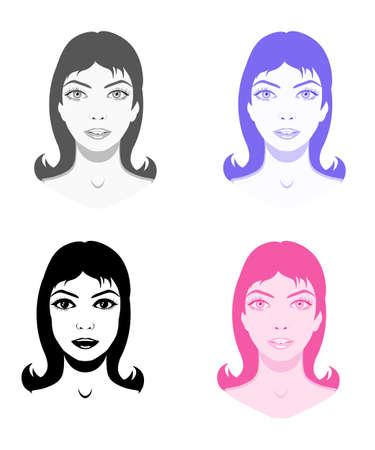 Vector set of girl portraits in different tones, design elements Ilustração