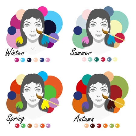 Color type of appearance of women. With a palette of colors suitable for their type of appearance. 4 classic types in the seasons: summer, autumn, winter, spring. Imagens - 124948649
