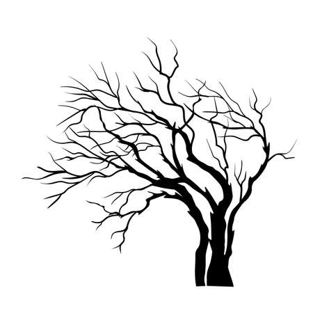 vector silhouette of Tree isolated on the white Ilustração