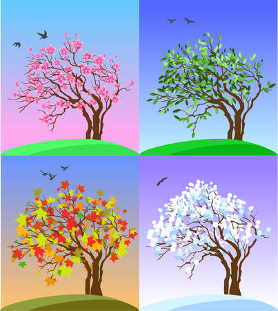 Four Seasons Banners with Abstract Tree, flying birds and Hills - Vector Illustration
