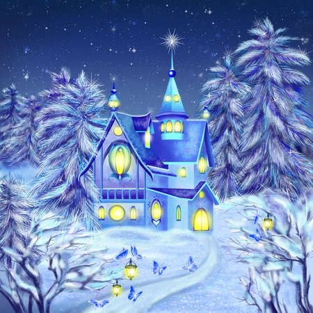 Hand drawn illustration of fairytale forest and a castle