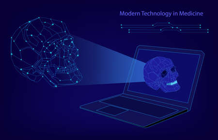 Abstract biotechnology vector background. Medicine technology futuristic illustration. Laptop with a skull image Ilustração