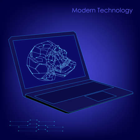 Abstract biotechnology vector background. Medicine technology futuristic illustration. Laptop with a skull image Imagens - 124535030