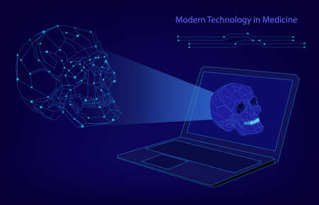 Abstract biotechnology vector background. Medicine technology futuristic illustration. Laptop with a skull image Imagens - 124535031