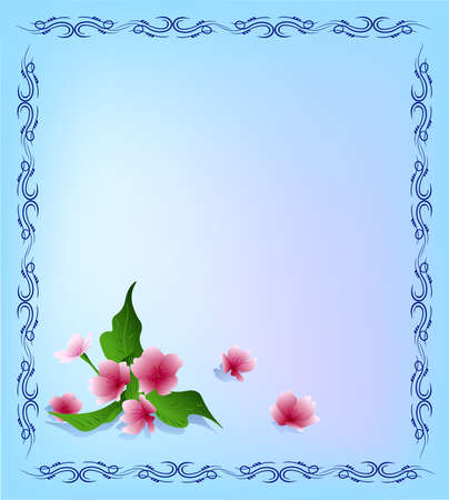 Vector template with ornamental frame and flowers of sakura