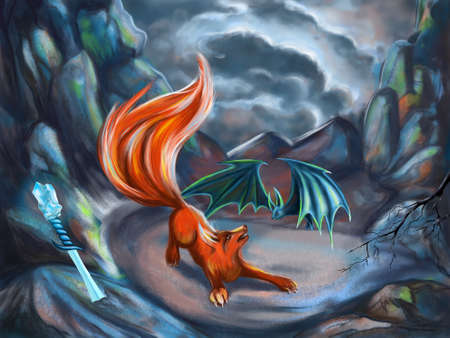 CG illustration for fantasy stories with fox and bat