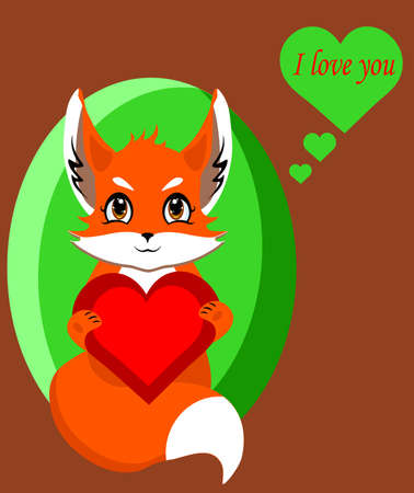 Fox with heart in love isolated, vector illustration