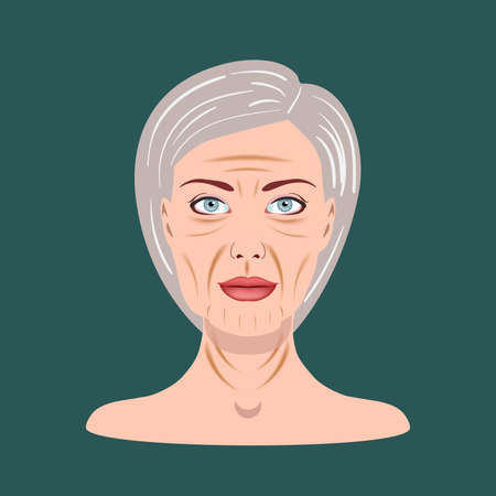 Senior Lady isolated on the dark background, Vector Illustration Ilustração